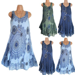 Black kimono dressing gown online shopping - Women Double layer Floral Printed Dress Ladies Casual Sleeveless Tunic Summer Beach Long Cover Skirt colors LLA352
