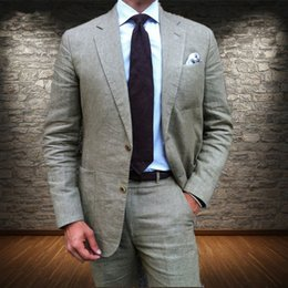 gold champagne tuxedo Australia - Latest Coat Pant Designs Grey Linen Men Suit Formal Slim Fit Blazer Summer Beach Tuxedo Custom 2 Piece(Jacket+Pants+Tie)