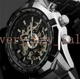 Watch 45mm Australia - WINNER Men Automatic Watches 45mm Top Luxury WATCH Brand Man Classic Stainless Steel Self Wind Skeleton Mechanical Watch Fashion Male Clock