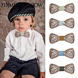 Wholesale New design Cute Kids Boys Wood Bow Tie Children Butterfly Type Floral Bow ties Girl Boys Wooden ties
