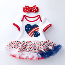 $enCountryForm.capitalKeyWord Australia - Baby Rompers Clothing Sets Two Piece Suit Striped Skirts American Flag Independence National Day Dot Printed Bow Headband