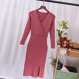$enCountryForm.capitalKeyWord Australia - Knitted Knee-Length V-neck Tunic Women's Dress Long Sleeve Lurex Glitter Sweate Dresses For Women Autumn Rib Pullover Vestido