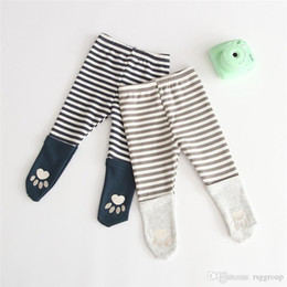 $enCountryForm.capitalKeyWord Australia - New INS Toddler Baby Girls Stripes Patchwork Leggings Spring Autumn Cotton Footprint Designs Newborn Tights Newest Quality Kids Girls Pants