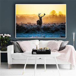 forest figures NZ - 1 Pcs Sunset Milu Deer Forest Wild Animal Landscape Canvas Painting Art Scandinavian Posters and Prints Wall Picture No Frame
