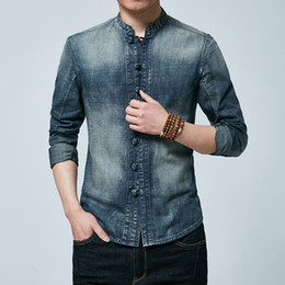 Chinese Traditional Shirts For Men Australia - Denim Shirt Men Cotton Jeans Cardigan Chinese Traditional Shirts Casual Fashion Slim Fit Long Sleeve Shirts For Male