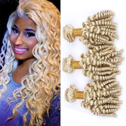 26 platinum blonde human hair extensions Australia - Cheap Platinum Blonde Funmi Curly Human Hair Weave Bundles 613 Blonde Bouncy Curly Hair Extensions Spiral Romance Curls Hair Wefts