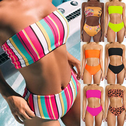 12b892e0c2 Women Bandage High Waist Swimwear Fashion Print Bikini Causal Slim Bathing  Suits Summer Sexy Beachwear Bras Panties TTA523