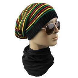 aa858e84a2c Winter Hip Hop Bob Jamaican cap Rasta Reggae Hat Multi-colour Striped Beanie  Hats For Men Women new style Male Beanie Caps Gorro