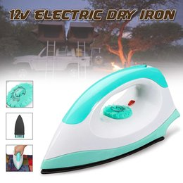 dry clothes iron UK - 200W 12V Portable Electric Clothes Handheld Dry Iron For Camper Travel Outdoor for Car RV Use Clothes Dry Temperature Cotroll