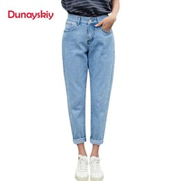 blue denim cargo pants UK - Dunayskiy Autumn Jeans Women Fashionable Blue High Waist Loose Denim Jeans Female Harem Pants Trousers Boyfriend Jeans For Women MX190712