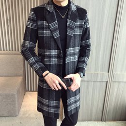 $enCountryForm.capitalKeyWord NZ - New High Quality Wool Blends Mens Casual Plaid Woolen Winter Trench Coat Men Single Breasted Big Lapel Collar Blends Jacket
