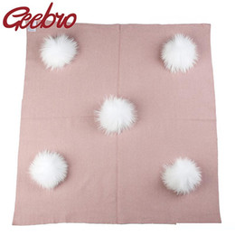 real beds NZ - Geebro Newborn Warm Wool Swaddling Blanket Travel Sleeping Blanket with 13 cm Real Fur Pompom Kids Baby Bedding Swaddles Wrap