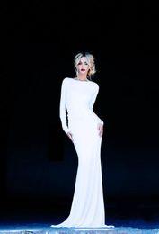 Long sLeeve white evening dress gown online shopping - White Long Sleeve Backless Evening Dresses Mermaid Slim Fitted Gowns Cheap Wedding vestido de festa longo Wedding Guest Dresse