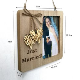 frames love Australia - 20x18cm Nature Color Wooden Pendant Drop Ornaments Photo Frame Weaving Love Photo Frames Village Vintage Wedding Supplies