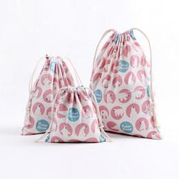Linen Cosmetic Bags Cases Australia - 2019 Women Makeup Organizer Travel Cosmetic Bag Cotton Linen Drawstring Cosmetics Storage Case Multifunctional Female Makeup Bag