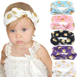 Babies Hair Wearing Headbands Australia - 12 Colors Baby gilding dot Headband New arrive infant boy girl solid color head wear for choose baby Hair Accessories with Bowknot
