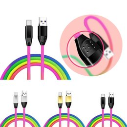 $enCountryForm.capitalKeyWord Australia - Rainbow USB Cable Type C Micro USB Charger Adapter Lead 2A High Speed Charging Anti-skidding Connector 1M 3FT For samsung S10 S9