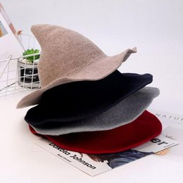 Wholesale witches hats for sale - Group buy Women Witch Hat Foldable Costume Sharp Large Brim Solid Color Crochet Warm Winter Cap Bucket Hat Women New Gorro Pescador