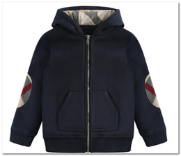 Fashion Boys jacket kids patch plaid long sleeve casual outwear children hooded zipper sweatshirt outwear brand kids clothes P0031 on Sale