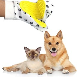 comb printing NZ - Pet Dogs Glove Brush Silicone Grooming Glove Cat Dog Printed Glove Grooming Comb Brush for Cleaning Removing Loose Hair for Cats