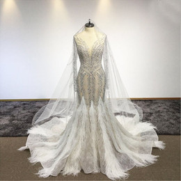plus size see through wedding dresses Australia - Sexy See Through Crystal Beaded Mermiad Wedding Dress With Feathers Luxury Sparkly Plus Size Dubai Bridal Gown Custom Made
