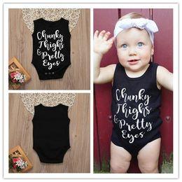 80d2a9e286 Baby Kids Infant Vest Rompers Jumpsuit Toddler Girls Summer Clothes Boy  Sleeveless Black Letter Print Playsuit T shirt 70-100cm A41603