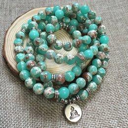 buddha beads necklace bracelet 2019 - Green Imperial J-asper Multi-Wraps Meditation Bracelets 108 Mala Bracelet Or Necklace 8mm Mala Beads Buddha OM Bracelet