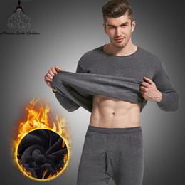 Wholesale black thermal underwear for men for sale - Group buy Thermal Underwear For Men Plus Size Thermal Underwear Set Winter Long Johns Men Warm Thermal Underwear Set Thermo Kleding Y200106