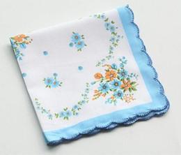 $enCountryForm.capitalKeyWord Australia - 300pcs Cotton Handkerchief Towels Cutter Ladies Floral Handkerchief Party Decoration Cloth Napkins Craft Vintage Hanky Oman Wedding Gifts