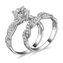 $enCountryForm.capitalKeyWord NZ - 2pcs   1 Set Ladies Fashion Princess Cut S925 Sterling Silver Cocktail Wedding Anniversary Ring Jewelry Presents Size 5-12