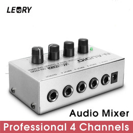 $enCountryForm.capitalKeyWord Australia - mezclador LEORY Professional 4 Channel Audio Mixer Mini Sound Mixing Console Metal Silver Low Noise DJ Mezclador For Audio PC