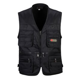 $enCountryForm.capitalKeyWord Australia - 4 Colors Male Casual Multi Pocket Vest for Summer Men Solid Photographer Shooting Outerwear Zipper Waistcoat Sleeveless Jacket