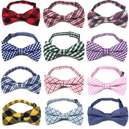 venda por atacado estilo britânico do bebê Tie Crianças xadrez gravata Moda Infantil bonito treliça gravata quente dos miúdos de algodão e ajustável laço C5934