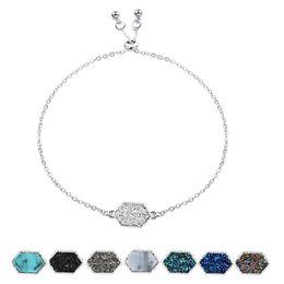 $enCountryForm.capitalKeyWord Australia - Fashion Druzy charm wrap bracelets Kendra Geometric shape Natural stone Gold Silver chains Scott Bangle For women DIY Jewelry in Bulk