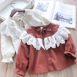 $enCountryForm.capitalKeyWord Australia - Fall New INS Little Girls Blouses Shirts Tatting Cotton Fabric Floral Embroidery Straps Collar Lovely Children Princess Girls Shirts Tops