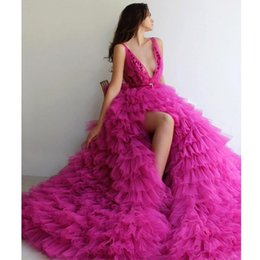 celebrities red carpet skirt Canada - Fuchsia Side Split Tiered Prom Dresses Deep V Neck Ruffles Skirt Tulle Red Carpet Celebrity Dress Puffy Skirt Pageant evening Gowns