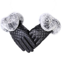 leather wrist gloves UK - Fashion Women Warm Thick Winter Glove Leather Elegant Girls Brand Mittens Rabbit Fur Women's Gloves