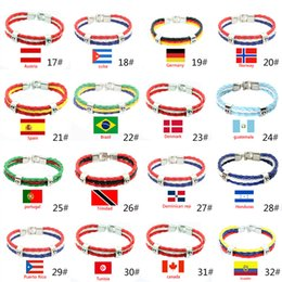 Woman Fans Australia - Bracelets Jewelry 2018 Russia World Cup National Flags Souvenir World Cup For Women Men Fans Fashion Braided Rope Charms Leather PU Bracelet