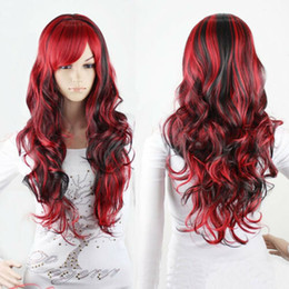 Wholesale Fashion Black Mix Red Wig Long Wavy Curly Hair Women Cosplay Full Wigs