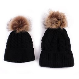 kids fedoras beanies UK - 2018 2PCS set Mom Mother+Baby Knit Pom Bobble Hat Kids Girls Boys Winter Warm Beanie Hats Accessories