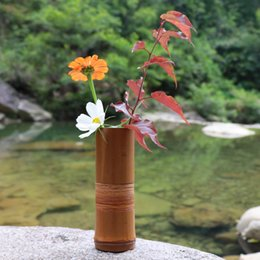 Pots Home Australia - Japanese Bamboo Flower Vase For Home Decoration Handmade Wedding Decoration Vase Gift Flower pots stands Home decor bottles wood