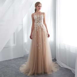 vestidos gala lace plus Australia - A Line Lace Vestidos De Gala Largos Sleeveless Prom Dresses 2019 Long Floor Length Champagne Party Gowns Robes De Soiree Formal Evening