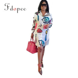 Wholesale women clothes china resale online - Cheap Clothes China Summer Turn down Collar Long Sleeve Eyes Printed Irregular Shirt Personalized Comfort Women Blouses
