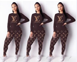 Wholesale womens two piece outfits for sale – designer 2PCS Sets Casual Skinny Black Two Pieces Outfits Luxury Female Clothing Ver Womens Designer Tracksuits Winter Long