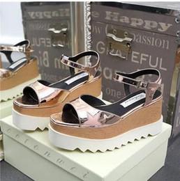 platform cutout wedge 2019 - New Stella Elyse Cutout Platform Oxford Platform Shoes Lace-Up Wedge Leather Wedge Heel Square Toe Women's Sandals