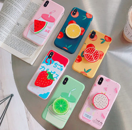 Iphone Retractable Case Australia - for iphone6s 7 8plus x mobile phone airbag bracket protective shell fruit pattern retractable airbag bracket mobile phone shell
