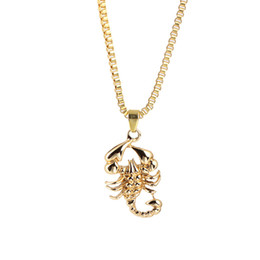 gold crystal scorpion NZ - Men Hip Hop Jewelry Scorpio Long Chain Gold Color Scorpion Pendant Necklace for Men Punk Rock Jewelry Gift