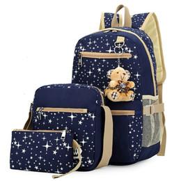 Cute Girl Backpacks For Teenagers Australia - 3pcs set Women Backpack School Bags Star Printing Cute Backpacks With Bear For Teenagers Girls Travel Bag Rucksacks Mochila Y19061102