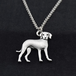 Italian Plates Australia - Vintage Stainless Steel Chain Italian Greyhound Dog Charm Pendant Statement Necklace Men Long Choker Fashion Jewelry Women Girls Party Gift