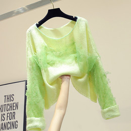 knitted wear jumpers UK - New Lace Stitching Knitted Jacket Pullover Sweater for Women Autumn Wear Green Sweaters Girl Lady Smock Jumper Knitted Shirt
